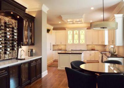 Custom kitchen, cabinets, and wine bar